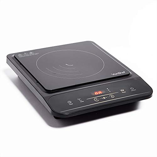 VonShef Single Induction Hob 2000W - Portable & Compact with Easy to Use LED Display, Built in Timer, Touch Controls, 10 Heat & Power Settings - Heats up to 240°C - Induction Safe / Friendly