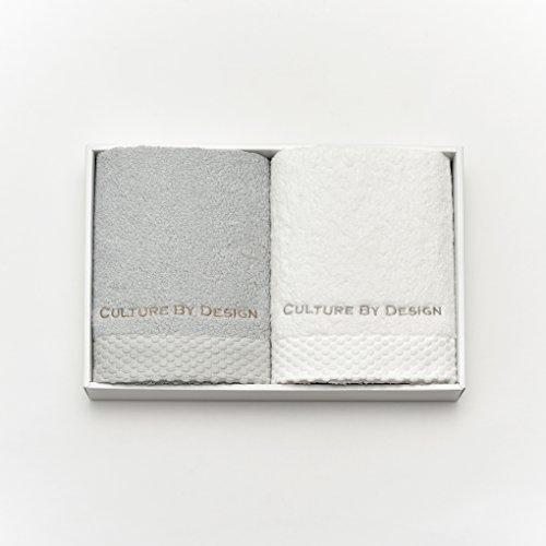コットン フェイスタオル 2枚 ペア ギフトセット パールグレー × ホワイト 今治タオル 認定 COTTON FACE TOWEL SET(CULTURE BY DESIGN)