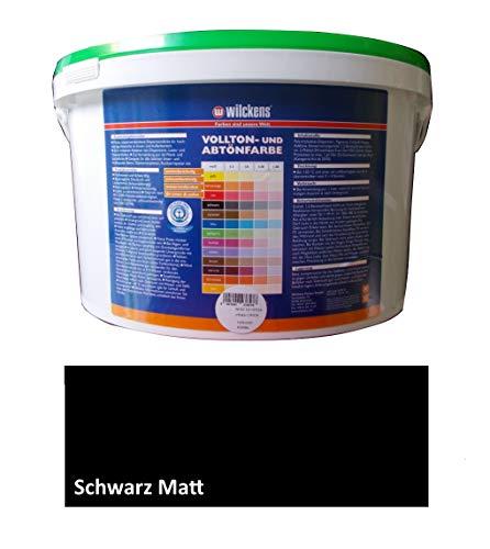 Wilckens 10 L. Voll- & Abtönfarbe, Wandfarbe Schwarz Matt, Kulissenfarbe, Fassadenfarbe, innen & außen