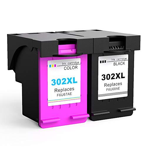 Ksera Rigenerata HP 302 XL HP 302 Cartuccia di inchiostro, Alta resa 2-Pack (1 nero, 1 a tre colori) F6U68AE / F6U67AE compatibile con HP Envy4520 /4521/4522 /4523/4524 /4525/4527 /4528