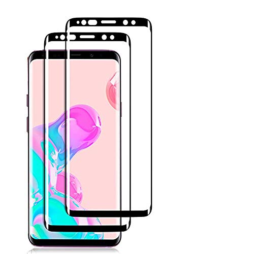[2Pack] Galaxy S8 Tempered Glass Screen Protector,[Black][Case-Friendly][No Bubbles][Easy to Install][Anti Fingerprint][Full Coverage] Screen Protector Compatible Samsung Galaxy S8