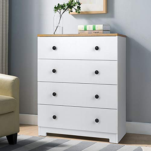 amzdeal Kommode Weiß,Kommode mit 4 Schubladen,Sideboard Schubladenkommode Schrank in Mattes Design, Nachttisch aus Holz,80x65x41.5cm