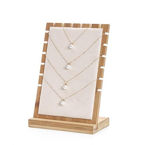 Soporte para collares de mesa de bambú, soporte de exhibición de joyería, soporte de exhibición de collar, soporte de exhibición de collar de tablón de madera, soporte de almacenamiento de collar