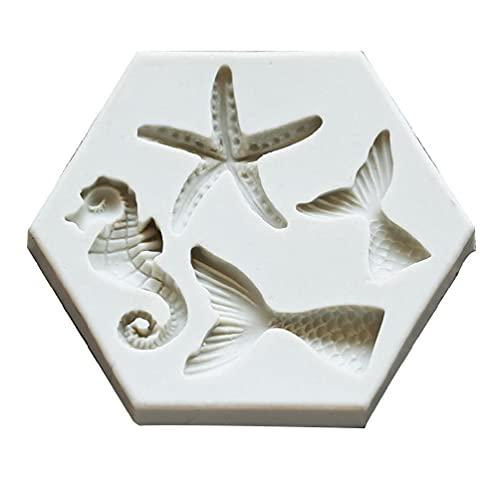 Stampo in silicone per fondente a forma di stella marina e cavallo marino, per fai da te, per dolci, cioccolatini, regali per bambini, adulti, in silicone, piccole forme, grandi