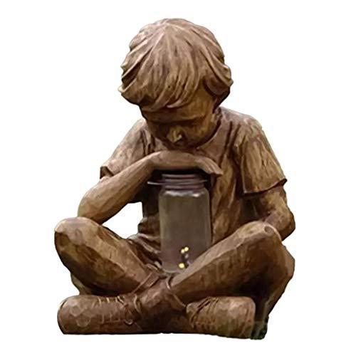 Gazechimp Boy Sculpture Light Ornament Figurine Statue Office Garden Artistic Decor