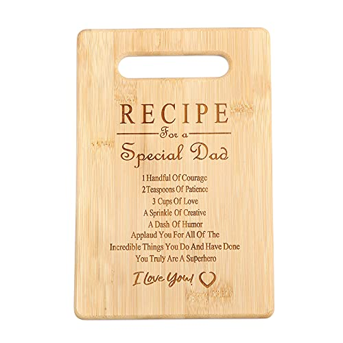 Bamboo Cutting Boards Gift for Fathers Day Holiday Birthday Fathers Present Recipe (7x11 Rectangle)