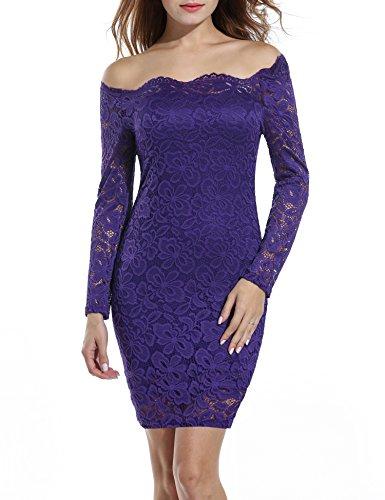 Beyove Damen Vintage Kleid Schulterfrei Spizenkleid Langarm Knielang Festlich Cocktail Abendkleid