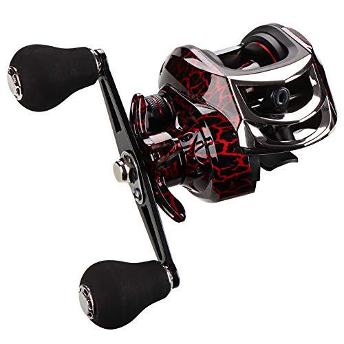 BNTTEAM Carrete de Pesca Baitcasting, Carrete de Pesca de diseño Compacto de 7,65 oz, Sistema de frenado magnético de 8 Niveles, 18 + 1BB, relación de Engranajes de 7,2: 1, Zurdos diestros