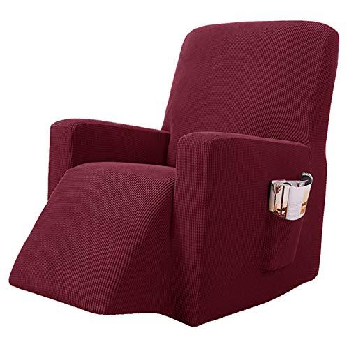 YRRA Alta Elasticidad Todo Incluido Funda de sofá, Color sólido Tejido Jacquard Funda de sofá Lavable Sofá Cubierta Protectora, para la Sala de Estar Perro Mascota Protector de Muebles,Wine Red