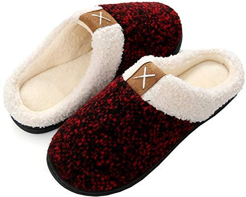 Brfash Zapatillas de Estar por Casa Hombre Invierno Memory Foam Pantuflas Suave Caliente Algodón Antideslizante,Rojo,EU40/41