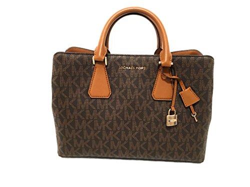 Michael Kors Camille Savannah Large Satchel Brown MK Acorn Crossbody Bag