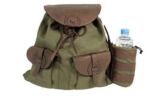 HUBERTUS Jagd- und Wanderrucksack aus Canvas und Büffelleder mit Flaschenhalter, 20 Liter