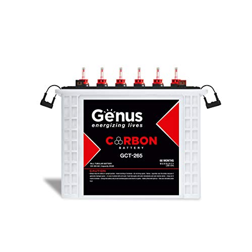 Genus Carbon GCT265 Tall Tubular 240 AH Best Inverter Battery for Home and Office, 60 Months Warranty, Nano Technology for Long and Reliable Service