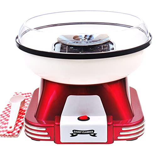 Gadgy Candy Floss Maker | Retro Cotton Candy Machine | Suitable for Sugar or Candies | Including Candlyfloss Sticks | 500W Red/White