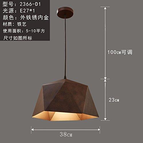 WoOnew Tête simple fer forgé lustre rétro Pot Led Restaurant Salon Chambre à coucher Décoration personnalité créatrice, à l'extérieur de l'or rouille 38X23cm