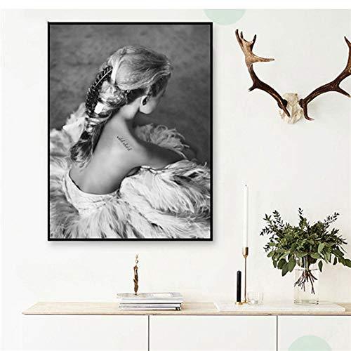 MOLINB Ölgemälde Schwarz Und Weiß Nordic Poster Vintage Wandkunst Leinwand Malerei Liebe Poster Und Drucke Wandbilder Für Wohnzimmer Ungerahmt, mk802,75x100cmx1