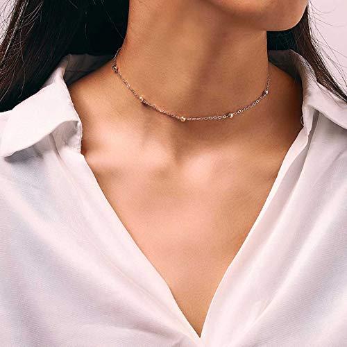 Runmi Gargantilla bohemia con colgante de satélite de plata, collar con cadena de abalorios, accesorios de joyería para mujeres y niñas (dorado)