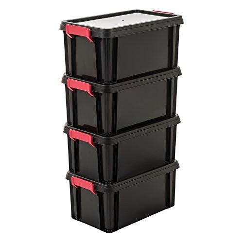 IRIS, 4er-Set Aufbewahrungsboxen / Kisten mit Deckel / Stapelboxen 'Multi Box', MBX-6, Kunststoff, schwarz, 6 L, 36,5 x 21,4 x 16,5 cm