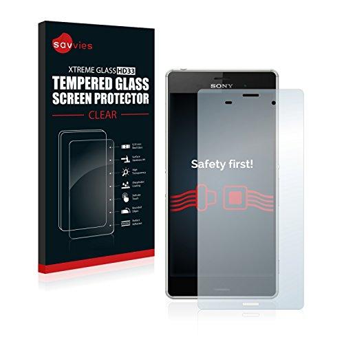savvies Cristal Templado Compatible con Sony Xperia Z3 D6616 Protector Pantalla Vidrio Proteccion 9H Pelicula Anti-Huellas