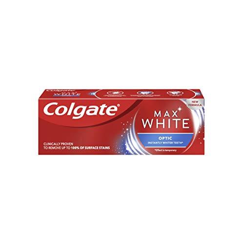 Colgate Zahnpasta Max White Optic 20ml, sofortiger Aufhellungseffekt für ein weißeres Lächeln, Reisegröße