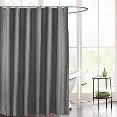 Haocoo Leinen Duschvorhang, wasserdicht Mehltau Extra Lange waschbar Bad Vorhang für Hotel, Bad, Familie mit Haken Grau (200 x 200 cm(B*H)