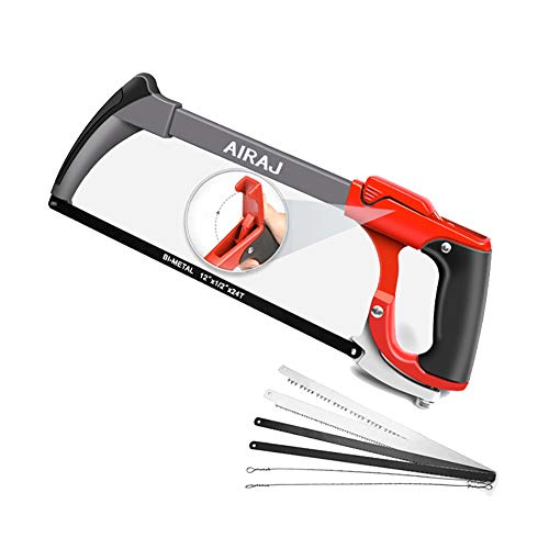 AIRAJ 12-Inch Hacksaw Frame,Adjustable Hand Saw with Two Sawing Angles (45°/90°),Multifunction Metal Saw with Replaceable Saw Blades for Cutting Metal,Wood,Plastic,Tree,Gift 6 Blades