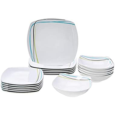 AmazonBasics 18-Piece Square Kitchen Dinnerware Set, Dishes, Bowls, Service for 6, Soft Lines