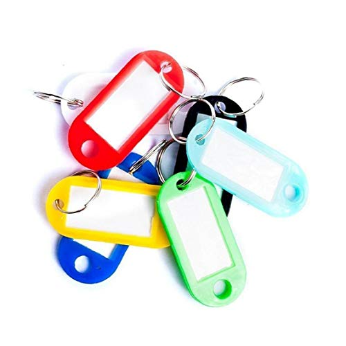 50pcs Keyring Tags Fobs Luggage Labels Writable Paper Card Keychain Plastic Cabinet Id Labels (Random Color)