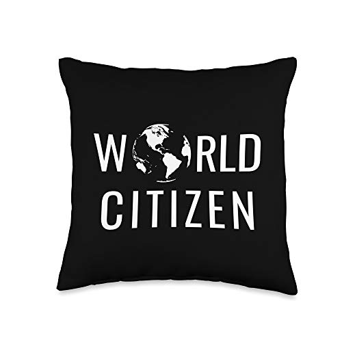 Tees for Translators World Citizen with White Globe Illustration - Globetrotter Throw Pillow, 16x16, Multicolor