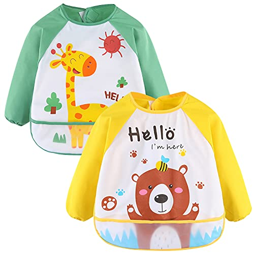 Tomedeks - Baberos con mangas, 2 baberos de manga larga impermeables unisex para niños pequeños de 6 meses a 3 años