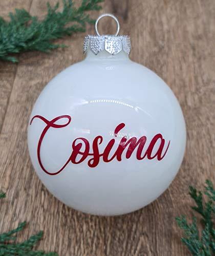 Palla Di Vetro Pallina Di Natale Bianco Con Testo Personalizzato Rosso