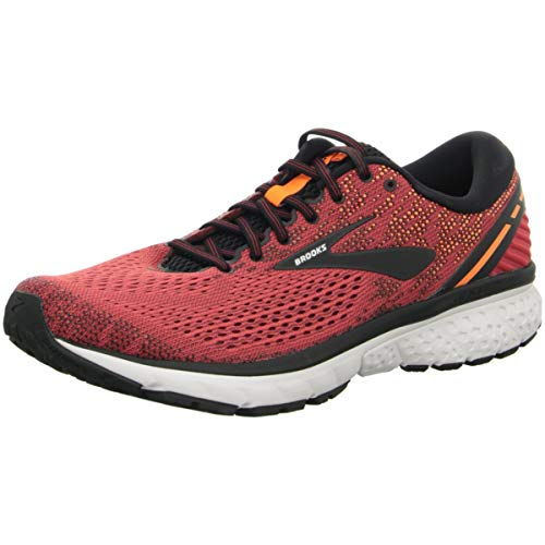 Brooks Mens Ghost 11 Running Shoe - Red/Black/Orange - D - 10.0