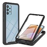 WEIOU Funda para Samsung Galaxy A32 4G con Protector de Pantalla Incorporado, Antigolpes Caso Transparente PC Carcasa Bumper Silicona TPU Protección Case Cover. Negro