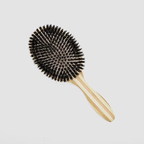 PPuujia Cepillo de champú profesional cepillo de extensión de pelo airbag, cepillo de cerdas suaves de jabalí, alisador de pelo rápido, cepillo de pelo de bambú (color natural)