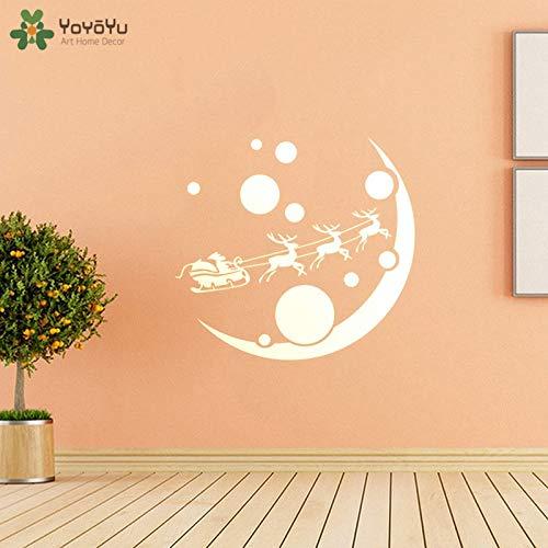 Muurstickers elanden kerst muur citaat stickers elanden rennen op de maan fijne feestdagen viering woondecoratie 63x63cm