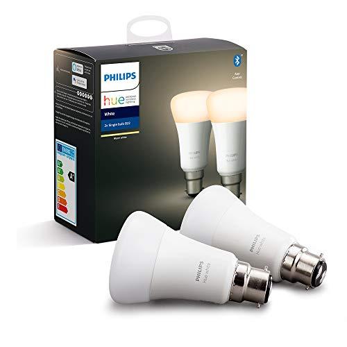 Philips Hue - Bombilla inteligente blanca (2 bombillas LED B22, casquillo de bayoneta), con Bluetooth, funciona con Alexa y Google Assistant, certificado para dispositivos humanos.