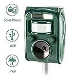 zonpor Cat Repellent, Ultrasonic Animal Repeller Solar Battery Operated Fox Deterrent Cat Scarer Repellent for...