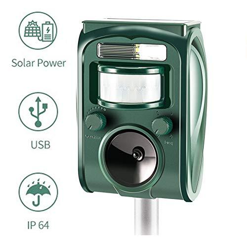 zonpor Ultrasuoni Repellente Gatti, Solar Animale Repeller Impermeabile per Allontanare Animali, Topi, Cani, Gatti, Uccelli