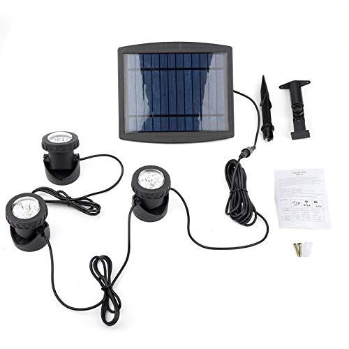 EVTSCAN Luz subacuática, luz subacuática de luz subacuática de 18 LED con energía Solar de Triple Cabezal para jardín al Aire Libre(Luz Blanca)