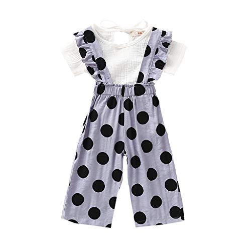 Moneycom❤Toddler Baby Girls Tops à Manches Courtes Solides + Pantalon à Bretelles à Pois Blanc(6-12 Mois)