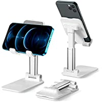 TRISCO Angle & Height Adjustable Foldable Cell Phone Stand with Stable Anti-Slip Dock (White)