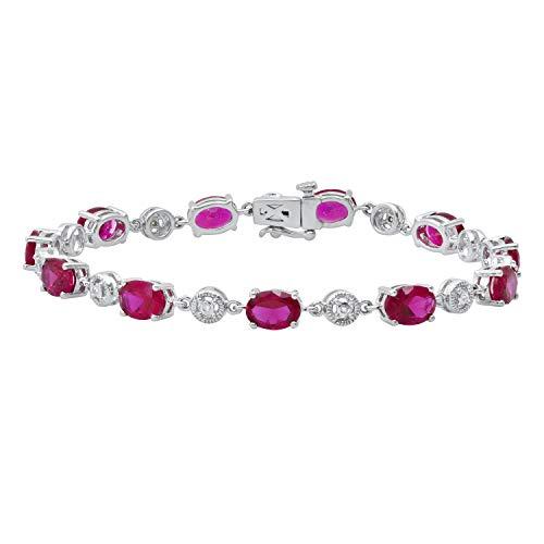 Dazzlingrock Collection Pulsera ovalada de 7 x 5 mm con rubí y diamante blanco redondo para mujer, plata de ley
