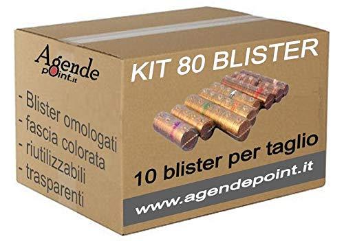 Blister contenitori per monete euro 80 pezzi assortiti (10 pezzi per taglio) in plastica trasparente