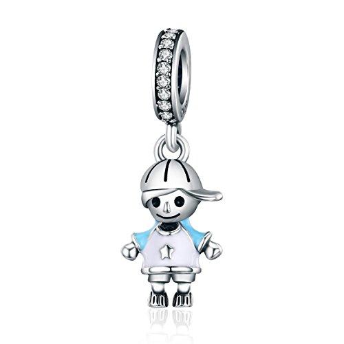 Ciondolo a forma di bambino in argento Sterling 925, per braccialetti e collane da 3 mm, colore: blu