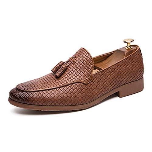 Mocasines de Hombre Zapatos de Vestir de Cuero con borlas Pisos de...