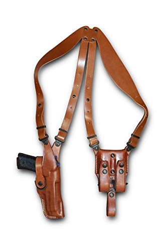 Premium Leather Vertical Shoulder Holster System with Double Magazine Carrier for Beretta 92FS Vertec, Right Hand Draw, Brown Color #1002#