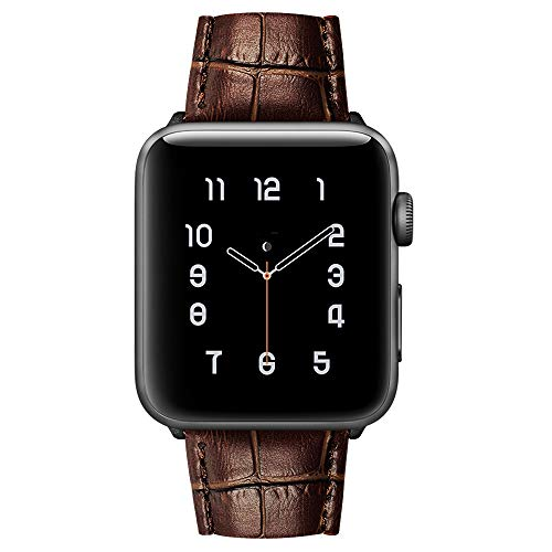 MARGE PLUS Compatible with Apple Watch Band 44mm 42mm, Alligator Grain Calf Genuine Leather Strap Replacement for iWatch Series 5/4/3/2/1 Sport and Edition, Brown