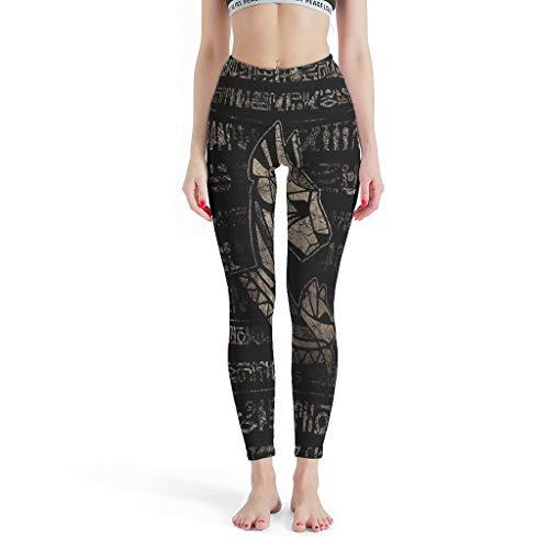 LPLoveYogaShop Leggings para mujer de la diosa egipcia, con gráficos de jeroglifos, para cosplay, delgados, para entrenamiento cruzado blanco XXL