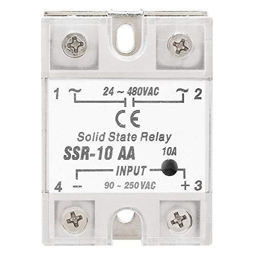 REALM-ARK Solid State Relais, SSR-10 AA 10A Anti Vibration SSR Halbleiterrelais Modul SSR AC AC Ausgang 24-480 V AC Eingang 90-250 V AC