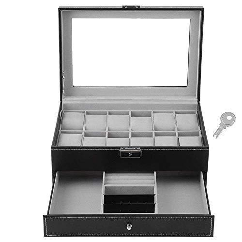 WWKDM Caja de Reloj Vitrina de Reloj 2 Capas 12 con Ranura para Cerradura Exhibidor de joyería Cubierta de Reloj Caja de Almacenamiento de joyería de Vidrio Cajón Caja de Reloj de Cuero Negro Tapa de
